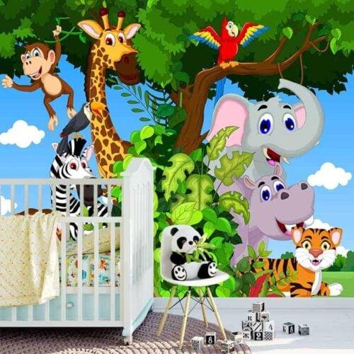 Fotobehang Vrolijke jungle dieren