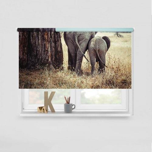 Rolgordijn Olifant met jong