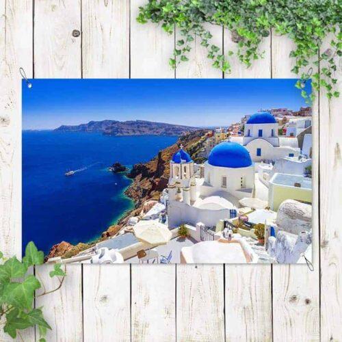 Tuinposter Santorini zeezicht