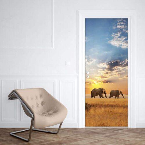 Deursticker olifanten aan de wandel