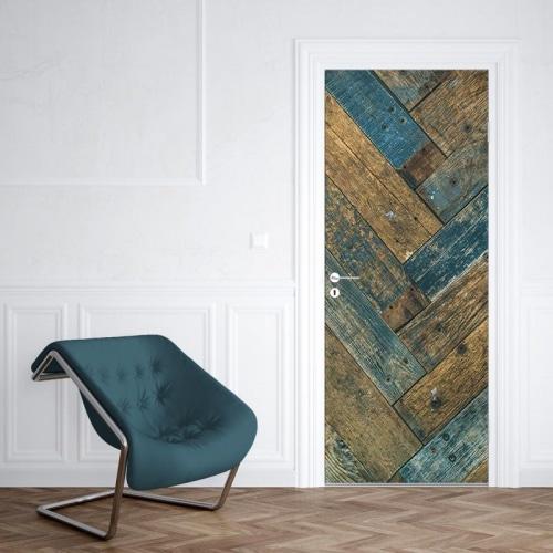 Deursticker Gekleurd hout patroon 2