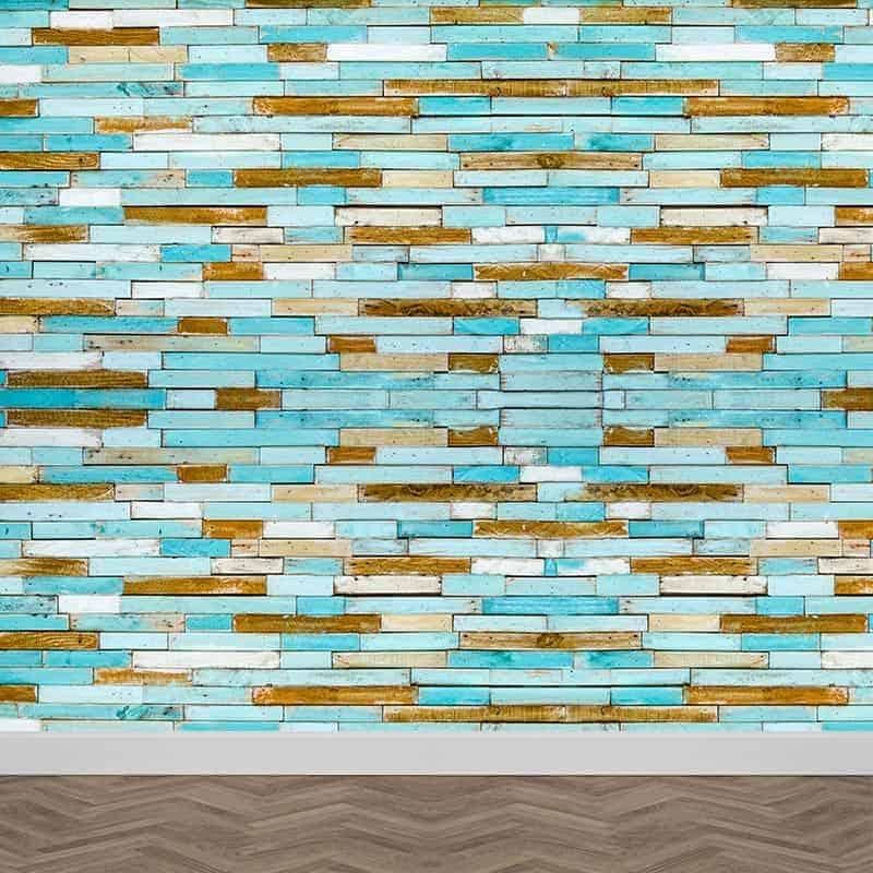 Fotobehang Gekleurd steigerhout blauw