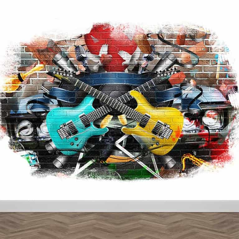 FotobehanFotobehang Graffiti gitareng Graffiti gitaren