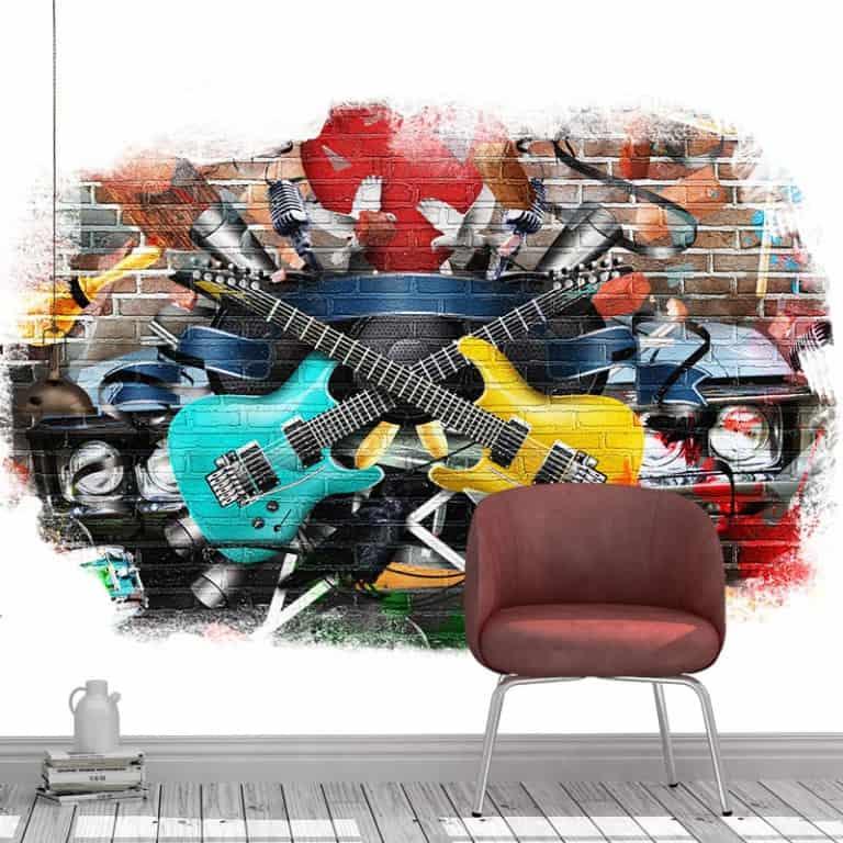 Fotobehang graffiti gitaren