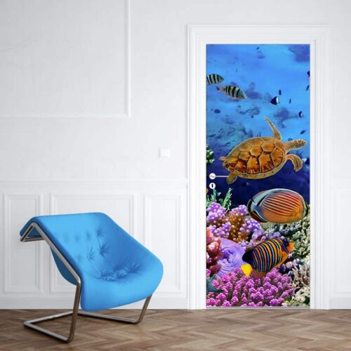 Deursticker Drukte in het aquarium