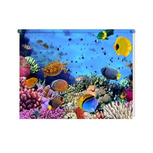 Rolgordijn Drukte in het aquarium