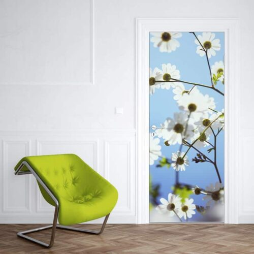Deursticker Witte bloemen