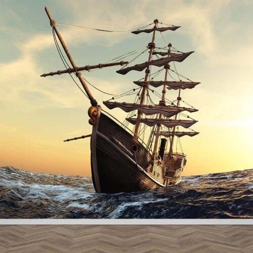 Fotobehang mysterieus piratenschip