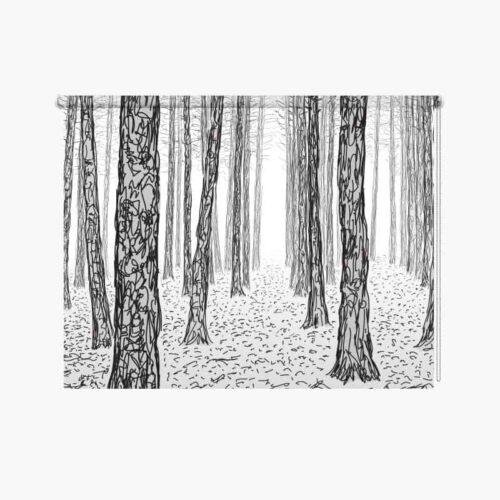 Rolgordijn geschetste bomen