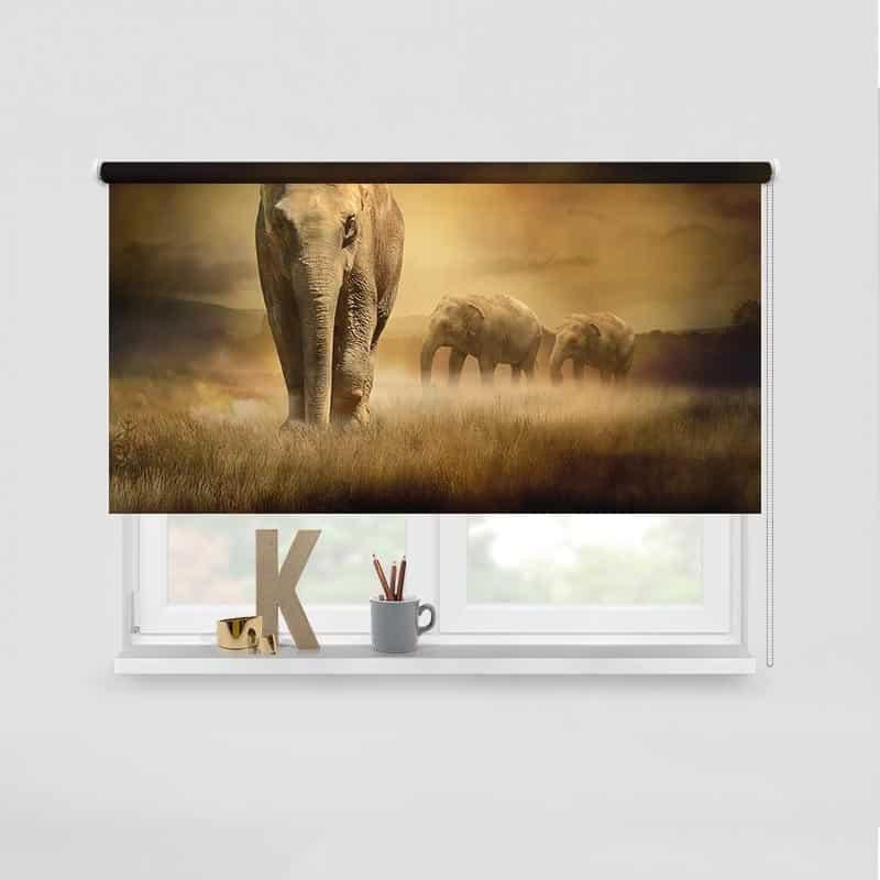 Rolgordijn Olifanten in de Namibwoestijn