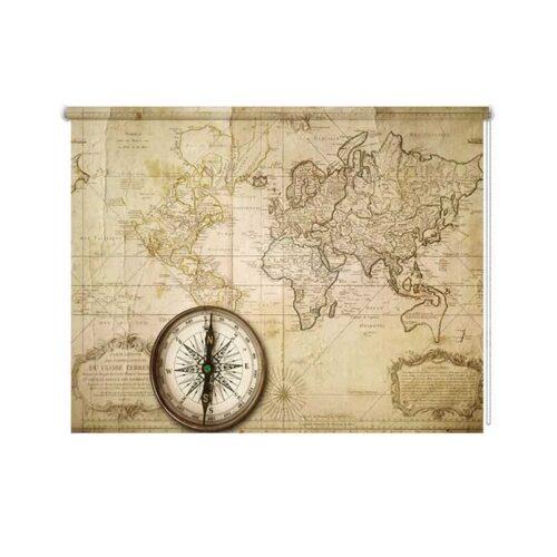 Rolgordijn Oude wereldkaart