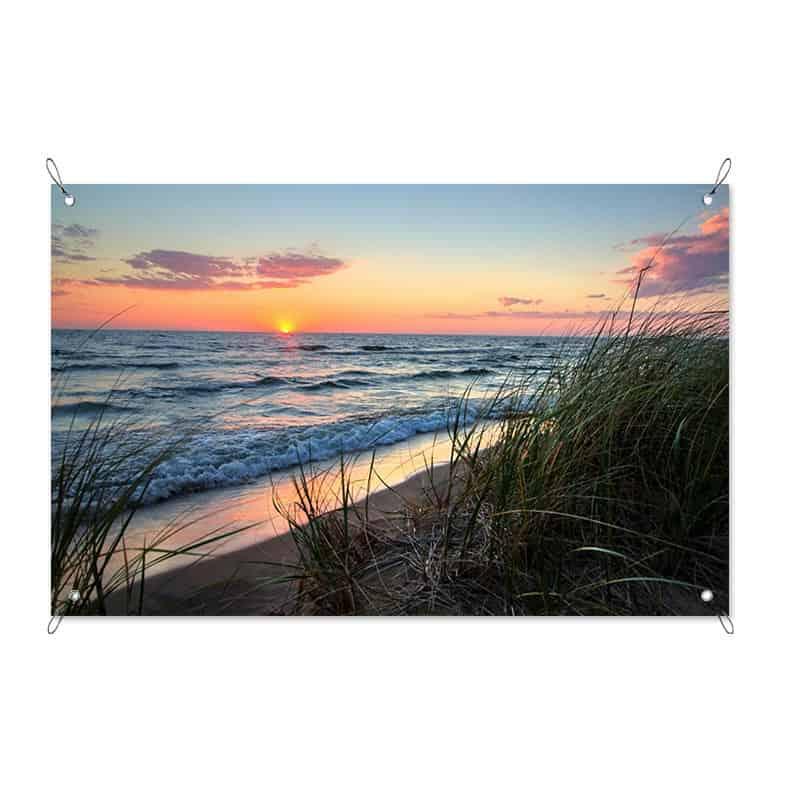 Tuinposter Zonsondergang aan zee