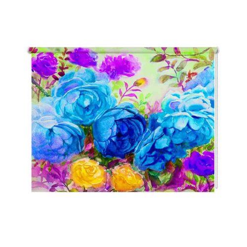 Rolgordijn Geschilderde bloemen