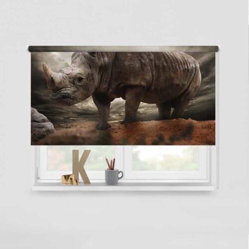 Rolgordijn Luie neushoorn