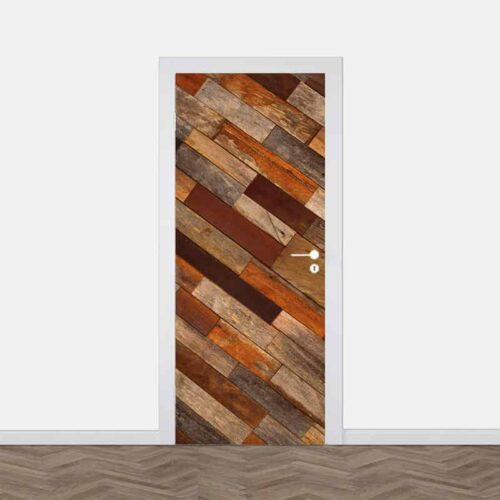 Deursticker Antiek hout patroon