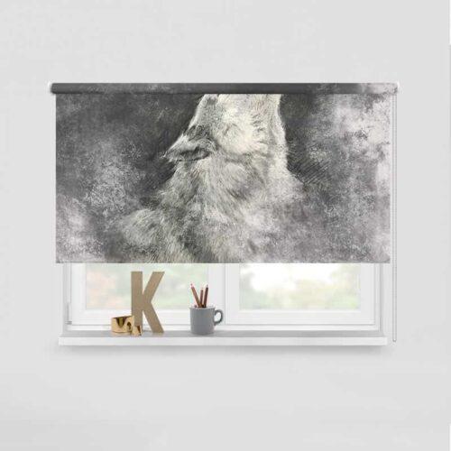 Rolgordijn Geschetste wolf
