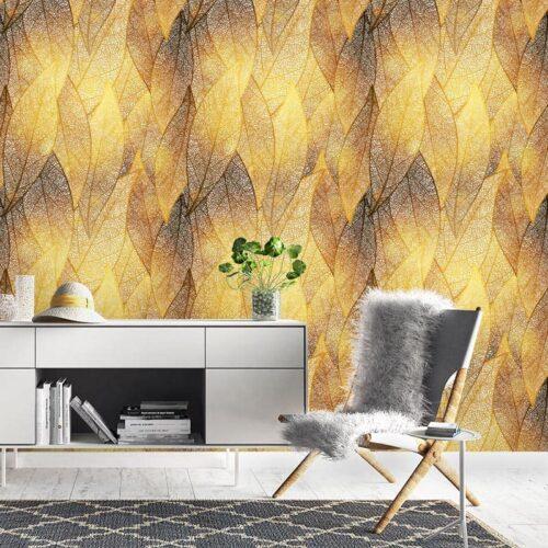 Fotobehang Gouden bladeren