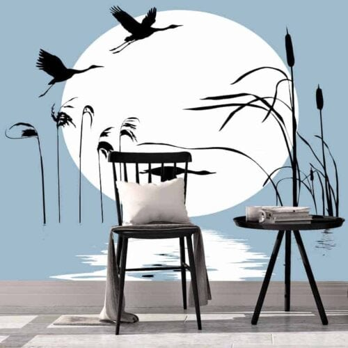 Fotobehang Vliegende eenden silhout
