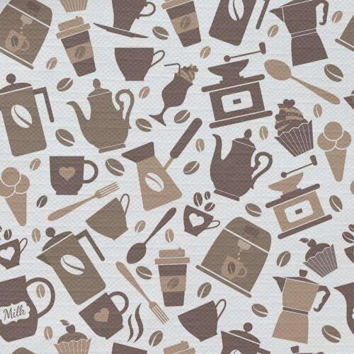 Tafelkleed Getekend koffie patroon 2