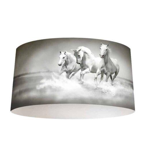 Lampenkap Witte paarden in water