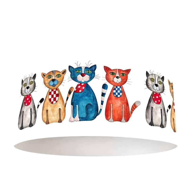 Lampenkap gekleurde katten op een rij