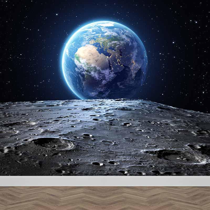 Fotobehang maan versus aarde