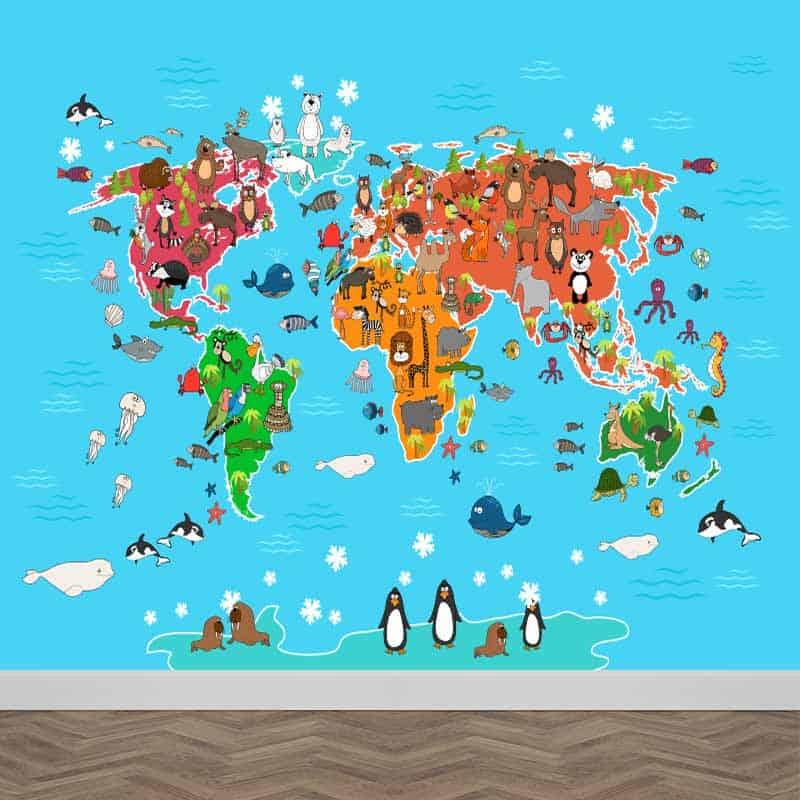 Fotobehang Speelse dieren wereldkaart