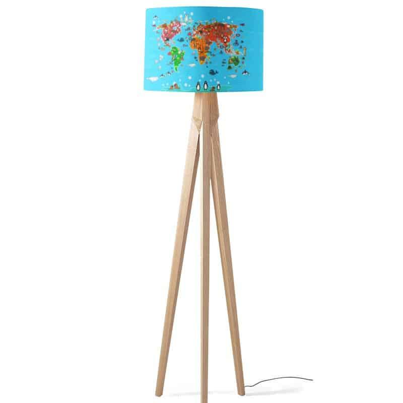 Lampenkap speelse dieren wereldkaart