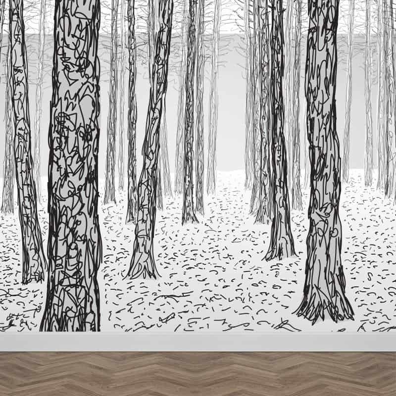 Fotobehang Geschetste bomen