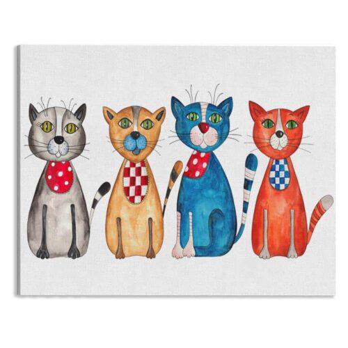 Canvas Gekleurde katten op rij