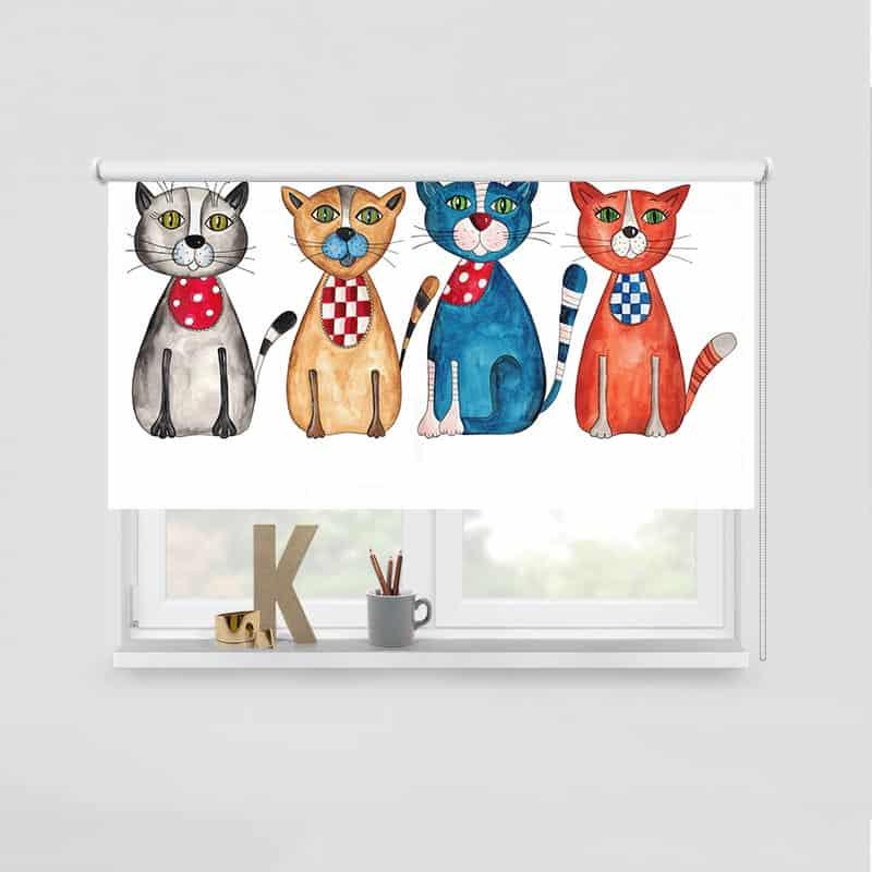 Rolgordijn Gekleurde katten op rij