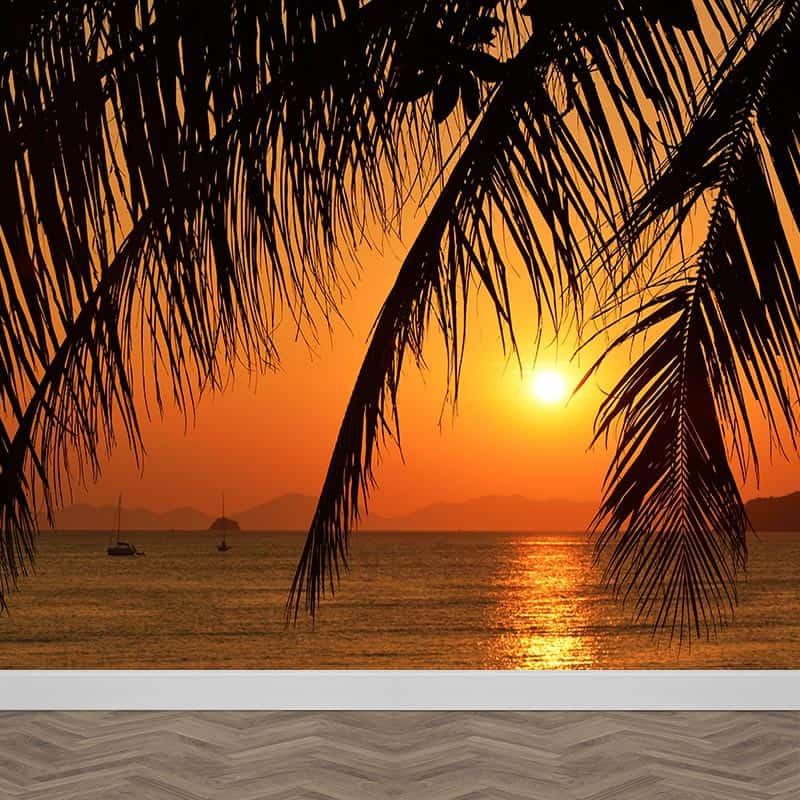 Fotobehang Idyllische zonsondergang