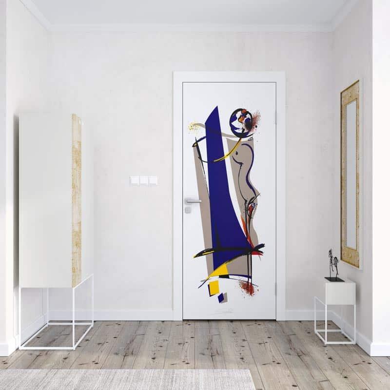 Deursticker Artistic line art