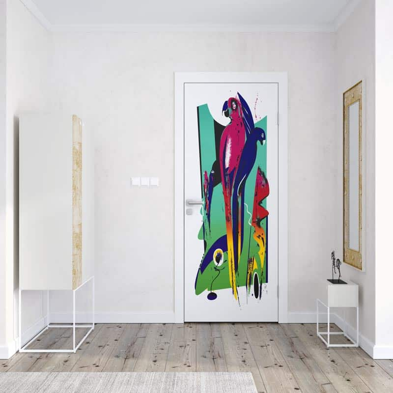 Deursticker Artistic parrots