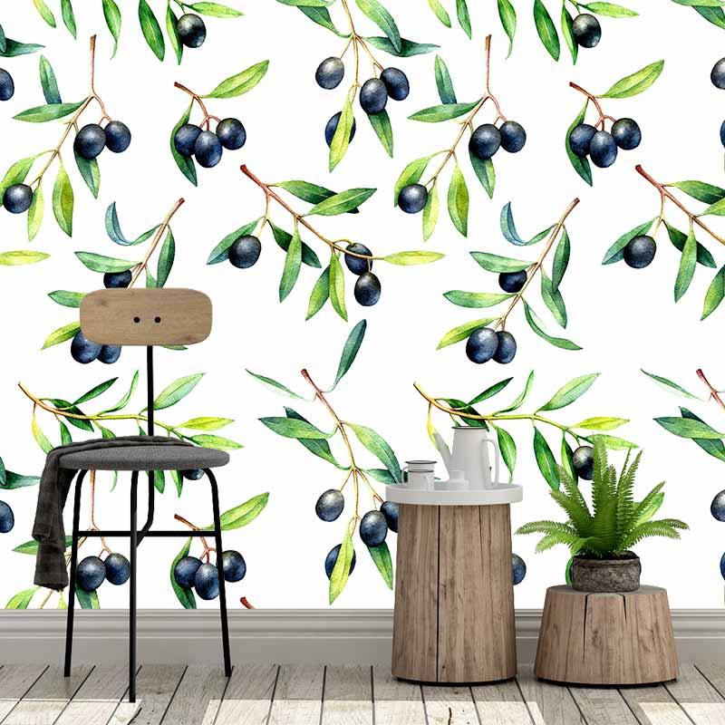 Fotobehang olijven in aquarel