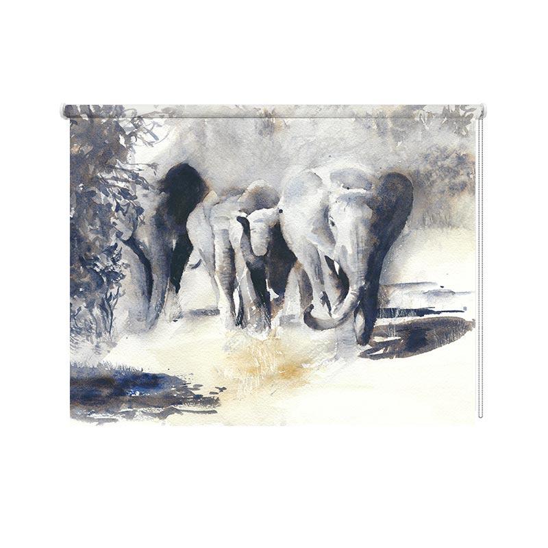 Rolgordijn Olifanten in aquarel