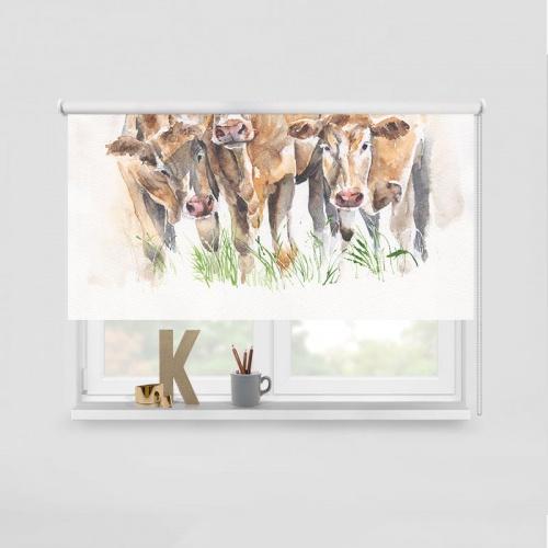 Rolgordijn Koeien in aquarel