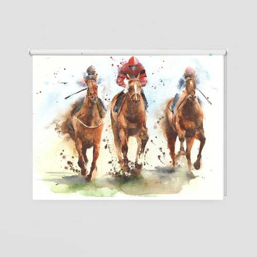 Rolgordijn renpaarden