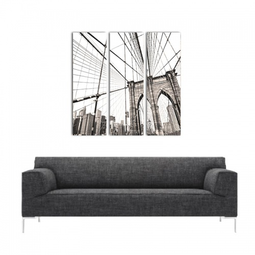 Canvas drieluik Manhatten bridge