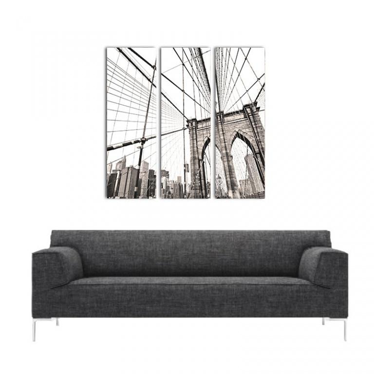 Canvas drieluik Manhatten bridge