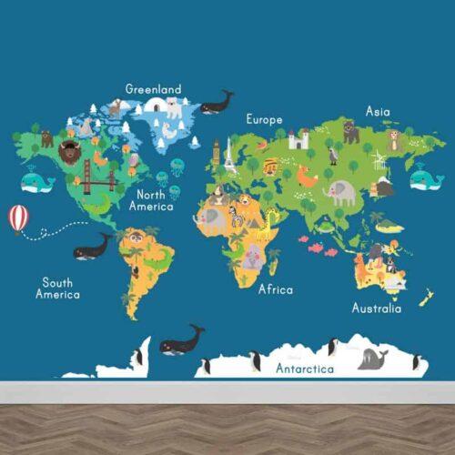 Fotobehang dieren wereldkaart 2