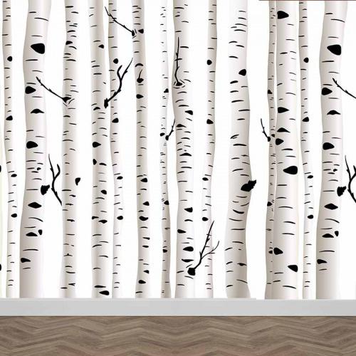 Fotobehang Berkenbomen patroon
