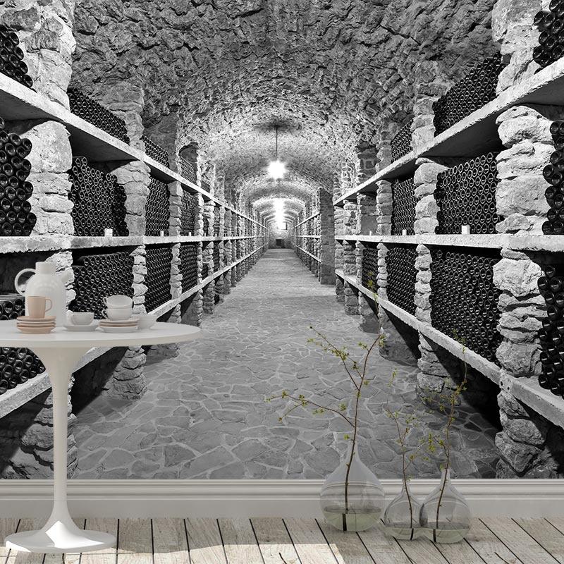 Fotobehang in de wijnkelder