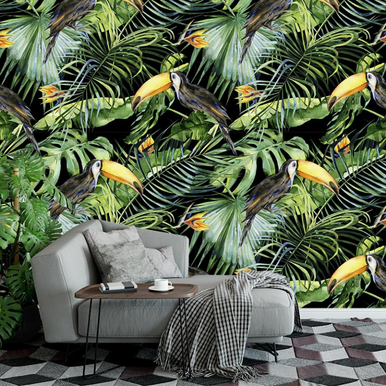 Fotobehang Botanische jungle patroon
