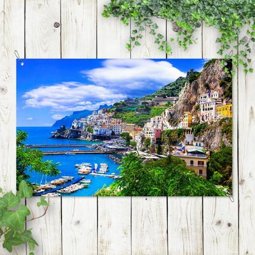 Tuinposter Mediterraans zeezicht