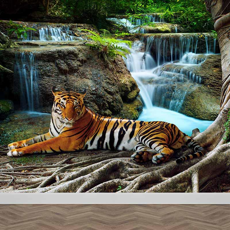 Fotobehang Tijger bij waterval