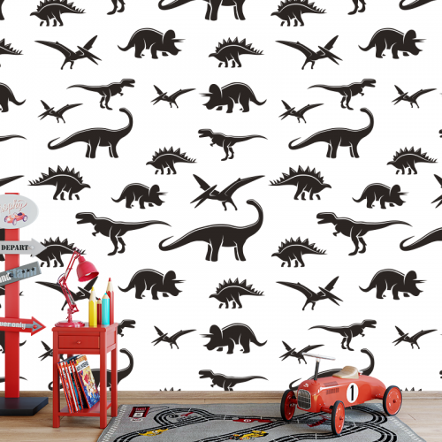 Fotobehang dinosaurus patroon zwartwit