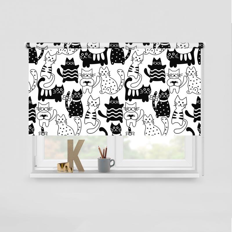 Rolgordijn zwart witte katten