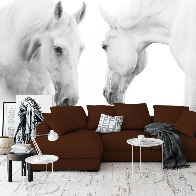 Fotobehang 2 witte paarden