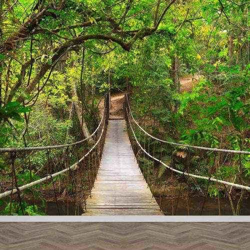 Fotobehang Touwbrug in regenwoud